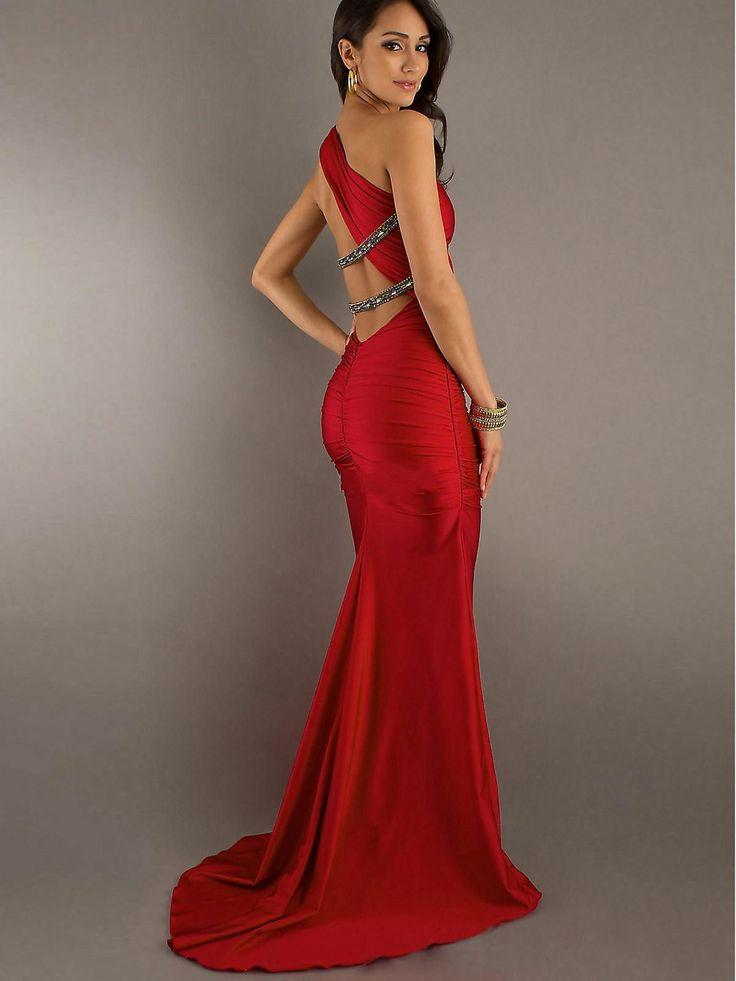 ec7a363e89a One Shoulder Beaded Red Floor Length Evening Dress Party Prom Bridesmaid  Dresses