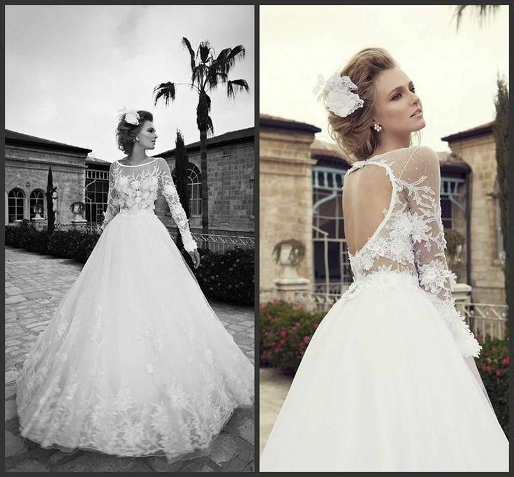 Sophisticated Open Back White Wedding Dress With Transparent Sleeves ...