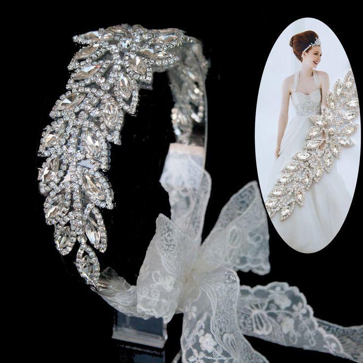 Mariage - Mariée mariage tiare casque mariage strass Bandeau dentelle accessoire de cheveux