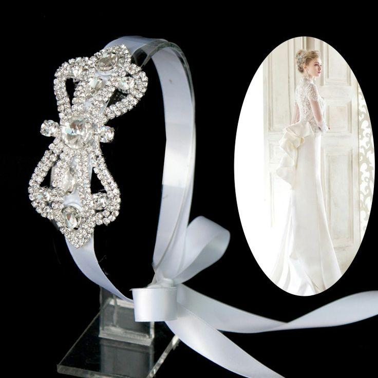 Very Luxury Rhinestone Bow Ribbon Headband Wedding Bridal
