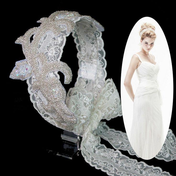 Свадьба - Свадебные Swarovski Crystal Оголовье Бисер Большой Цветок Волосы Группа Аксессуаров