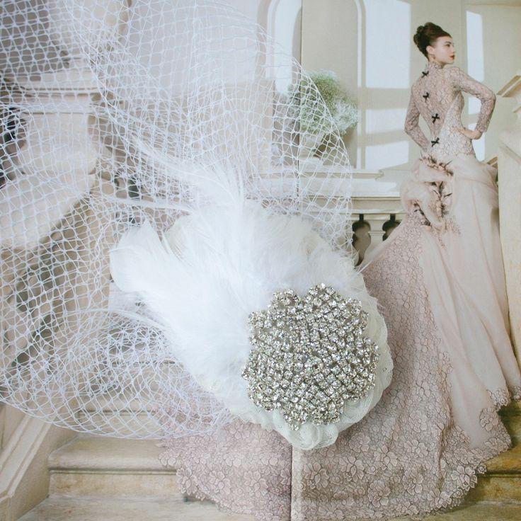 Свадьба - Нежный Горный Хрусталь Свадебные Цветочные Кружева С Клетки Покрывало Волос Cap