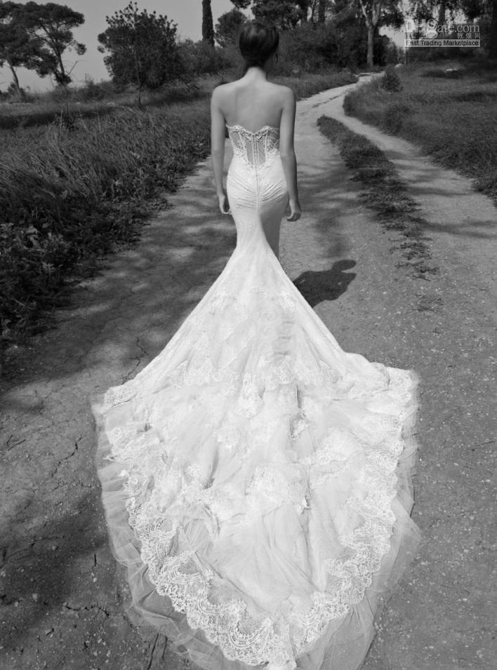 luxury lace mermaid wedding dresses sexy inbal dror backless evening dresses