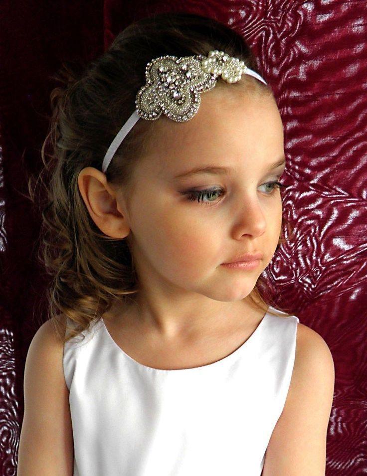 a85cf3d50e4b6e Blumen-Mädchen-Perlen-Stirnband, Baby-Stirnband, Stirnband Taufe, Kommunion