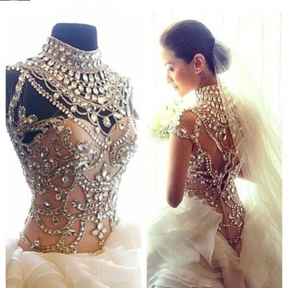 Ivory Wedding Dress Heavily Embellished With Pearls