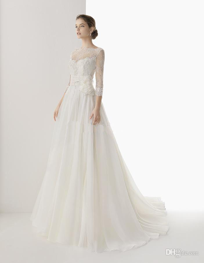 2014 wonderful handmade flowers long sleeves a line bridal for Wedding dresses with sleeves uk
