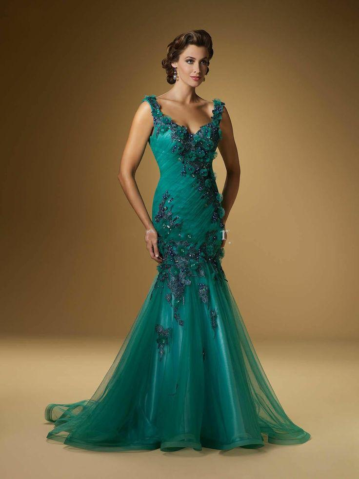 Sexy V Neck Applique Mermaid Emerald Women Evening Dress Prom ...