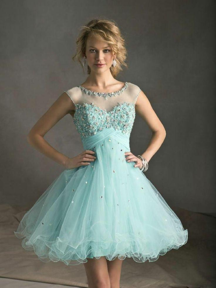 Kurze Tulle Beaded Cap-Sleeves Abendkleid Junior Formal Partei ...