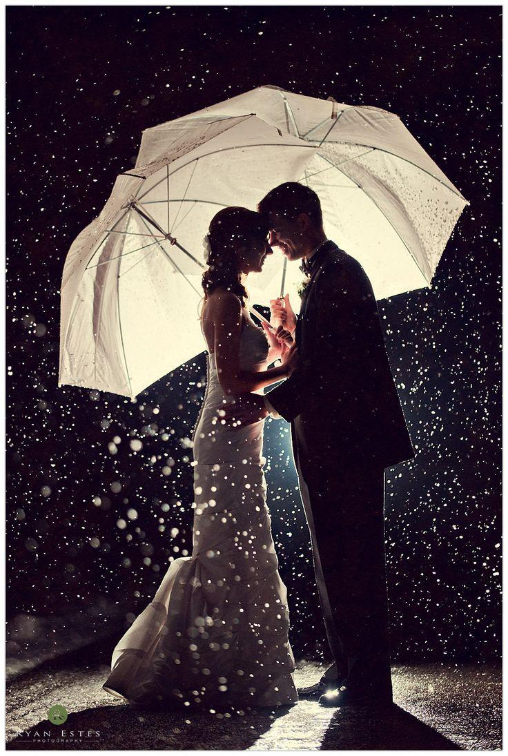 Wedding - Wedding photography where the couple is holding umbrellas.