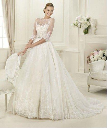 Wedding Dress With 3/4 Illusion Sleeves Makes You Look Special ...