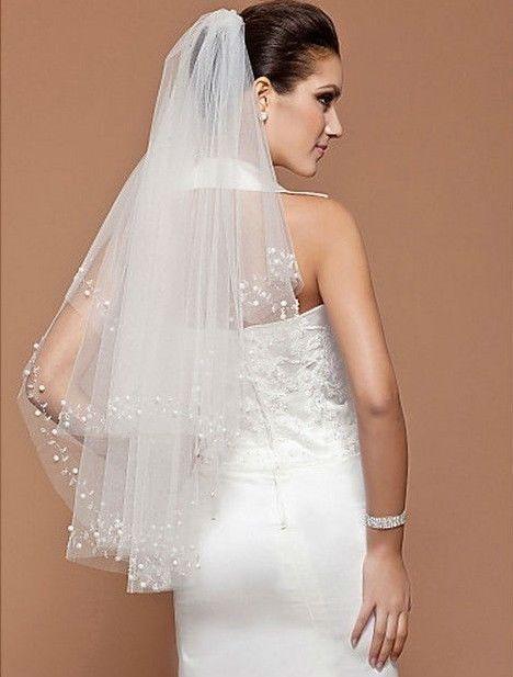 Свадьба - Оптовая торговля - 2t Мода свадебная Вуаль цвета Слоновой кости, усовершенствование белый загнутый Край Пальца Вуаль и расческа