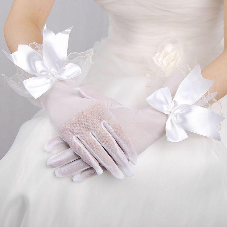 White Tulle Wrist Length Wedding Bridal Party Gloves W Beaded Bowknot Fingered
