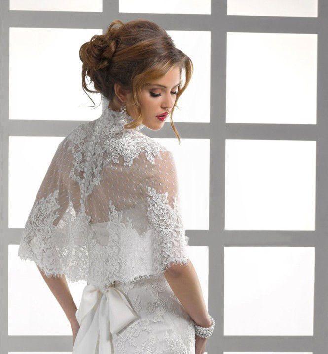 High Neck Button Back Lace Jacket Bolero Coat Bridal Wedding ...