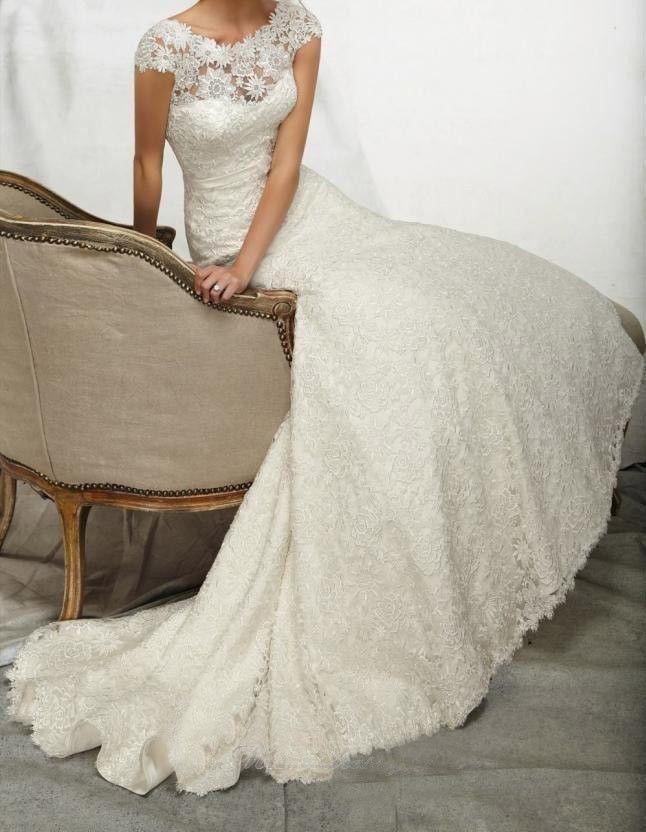 8 Wedding Dresses Wedding 2014 White Ivory Lace Wedding Dresses Custom Size 2 4 6 8 10