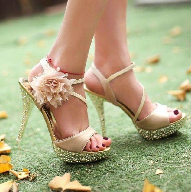 Mariage - Lacet de scintillement de partie de fleurs de la Reine à lacets Chaussures High Heels de mariage US7/EU38