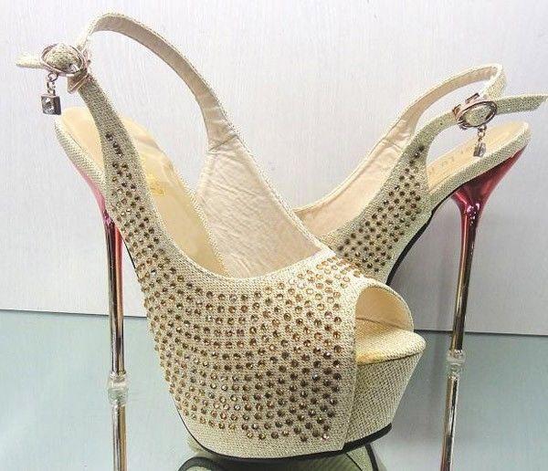 Gold Glitter Evening Party Queen High Heels Women Wedding Shoes ...