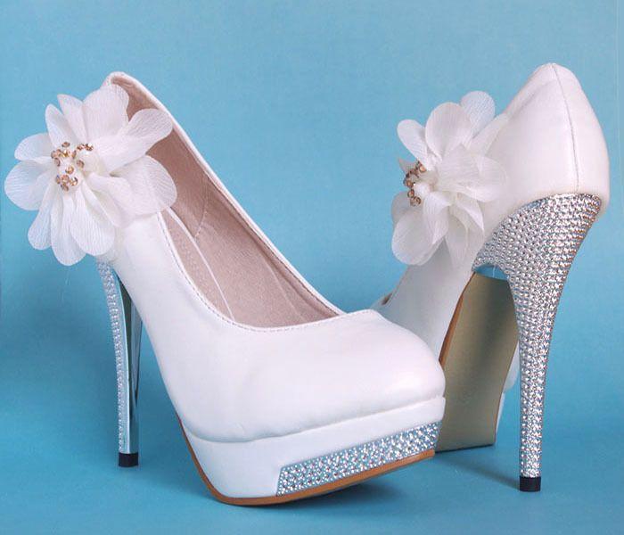 Weiss Party Queen Glitter High Heel Platform Spitze Blumen Hochzeits