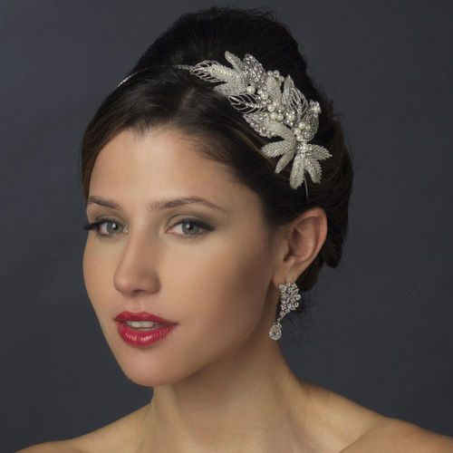 Diamante Crystal And Pearl Leaf Side Bridal Headband.  2053175 ... 10a3e036903