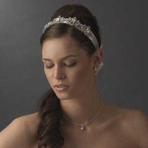 Mariage - NWT Vintage Style ruban satin blanc Bandeau nuptiale