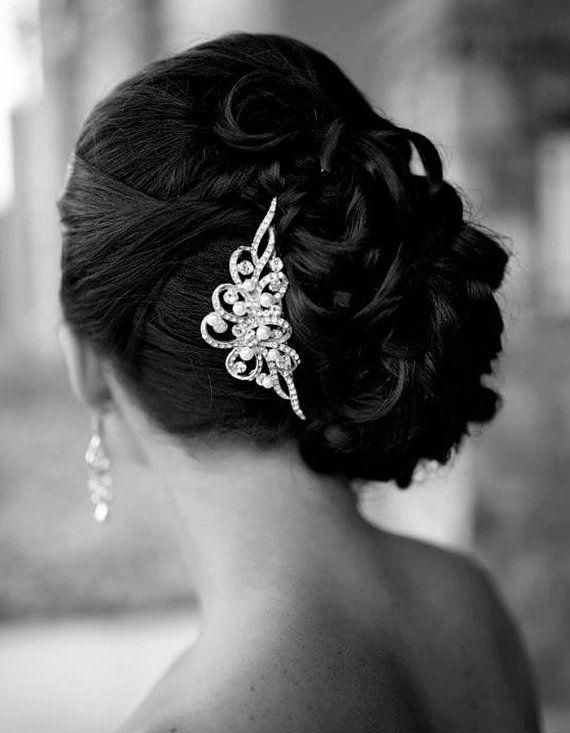 Braut haarschmuck strass  Hochzeits-Haar-Kamm, Vintage Inspirierte Swarovski Kristall Und ...