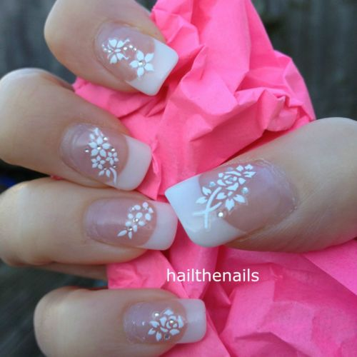 Wedding Bridal White Flower Nail Art