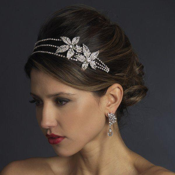 Nwt Exquisite Double Flower Rhinestone Bridal Headband Tiara With Side Accent