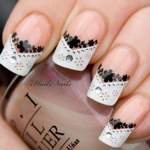 stunning black and white lace bling french manicure