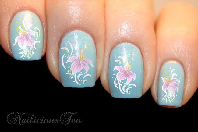 Elegant Lily Flowers Nail Wraps Art Water Transfer Decal 20pcs St8075