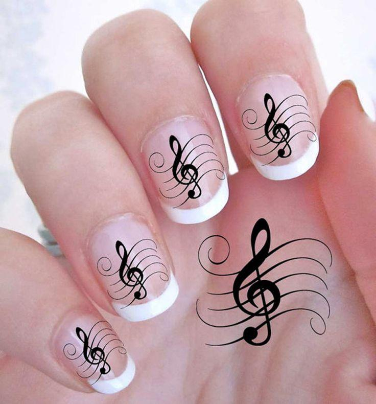 Wedding - 42 TREBLE CLEF Music Note Nail Art Decals -ROCK G Clef WaterSlide QUALITY NAILS