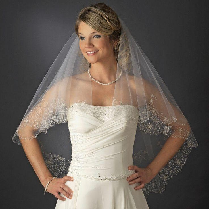 Nwt two layer fingertip length bridal wedding veil with