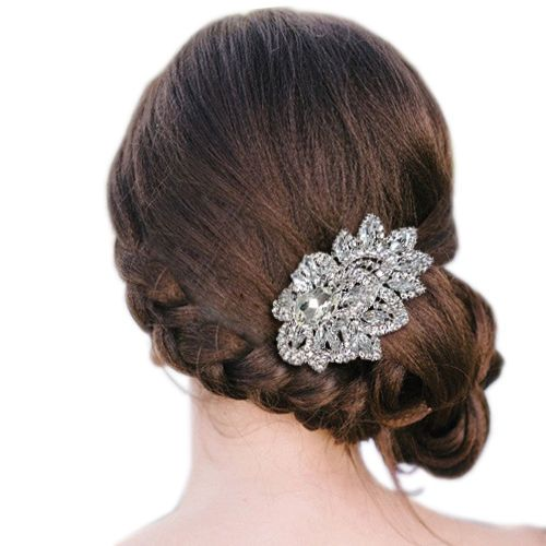 Свадьба - Шикарные Свадебные Листьев Tear Drop Расчесывать Волосы Тиара Ясно, Горного Хрусталя