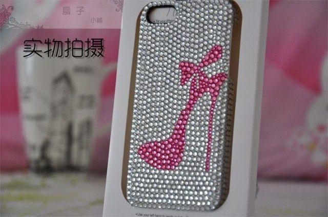 Mariage - Cristaux la main en strass Bling iPhone 4 4S 5 5s 5c cas de couverture rose de haut talon