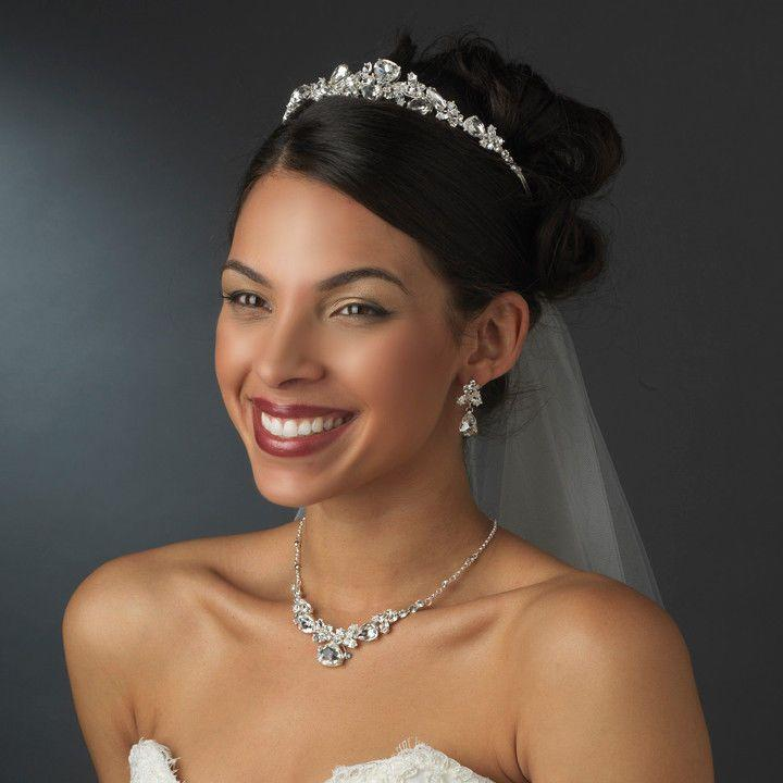 NWT Silver Plated Bridal Wedding Tiara And Jewelry Set 2065424