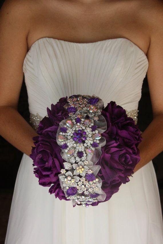 Purple Brooch Bouquet Purple Wedding Bouquet Purple Bridal Bouquet ...