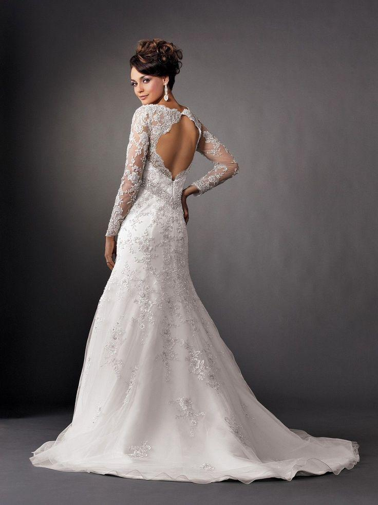 Backless Dresses Long Sleeve Lace Wedding Gowns 2066098