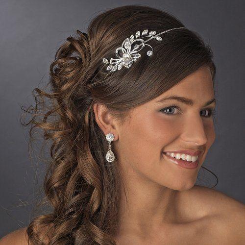 NWT Rhinestone Crystal Bridal Prom Side Accent Silver Wedding Headband Tiara 3522209b67f
