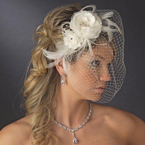 زفاف - زهرة مزدوجة، حجر الراين واللؤلؤ fascinator ريشة قفص العصافير والحجاب الزفاف