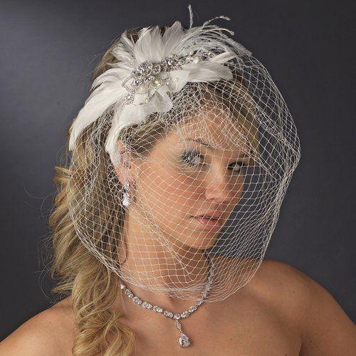 Mariage - Couture cristal et perles d'eau douce fascinateur plume Birdcage de voile de mariage