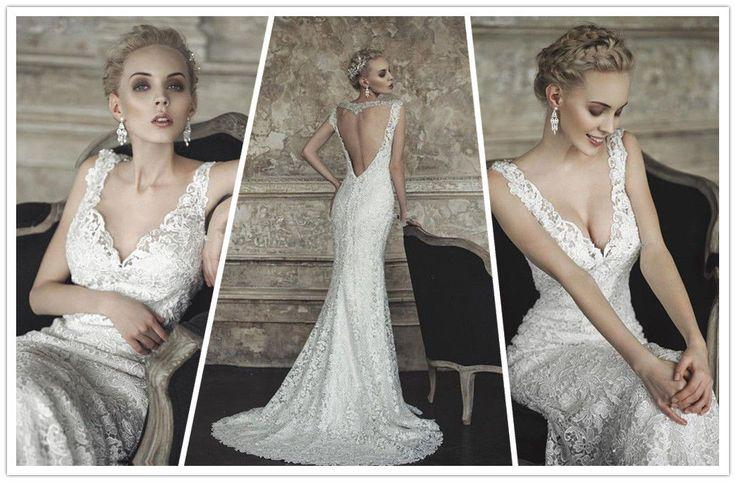 Deep V Neckline Lace Sheath Wedding Dress