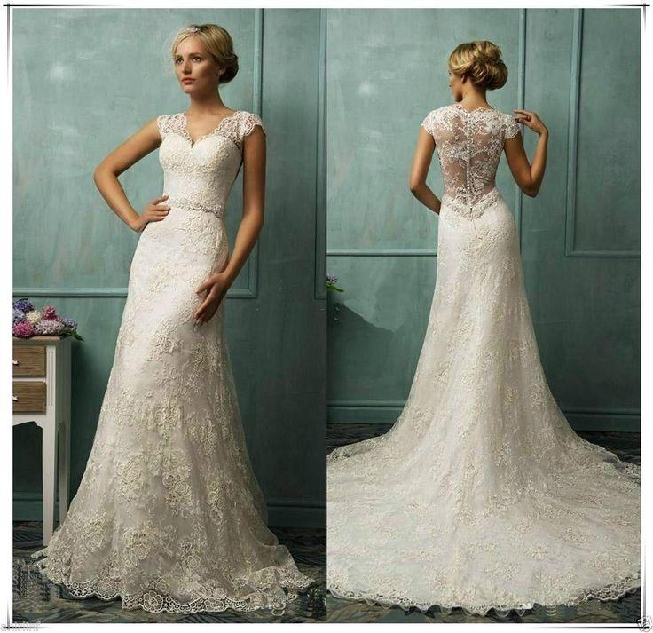 New Elegant Lace Mermaid Wedding Bridal Dress Size 6 8 10 12 14 16 18 20