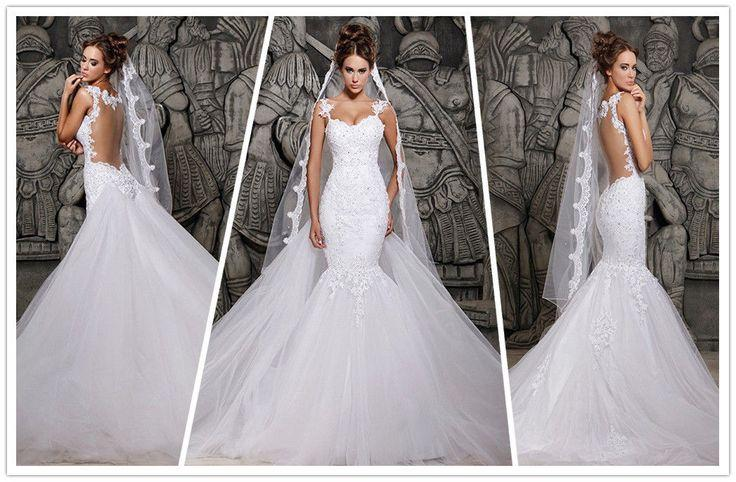 2014 Designers White Lace Mermaid Wedding Dresses Removable Train ...