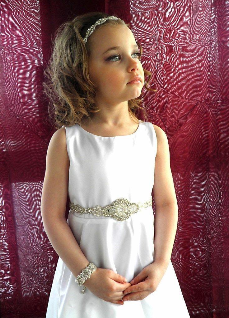 6b6572d3592 Flower Girl Communion Dress Rhinestone Beaded Sash Belt Ribbon ...