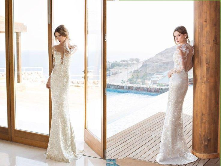 Mariage - Fashion Mermaid V Neck Wedding Dresses Hollow Lace Applique Bridal Gowns Custom