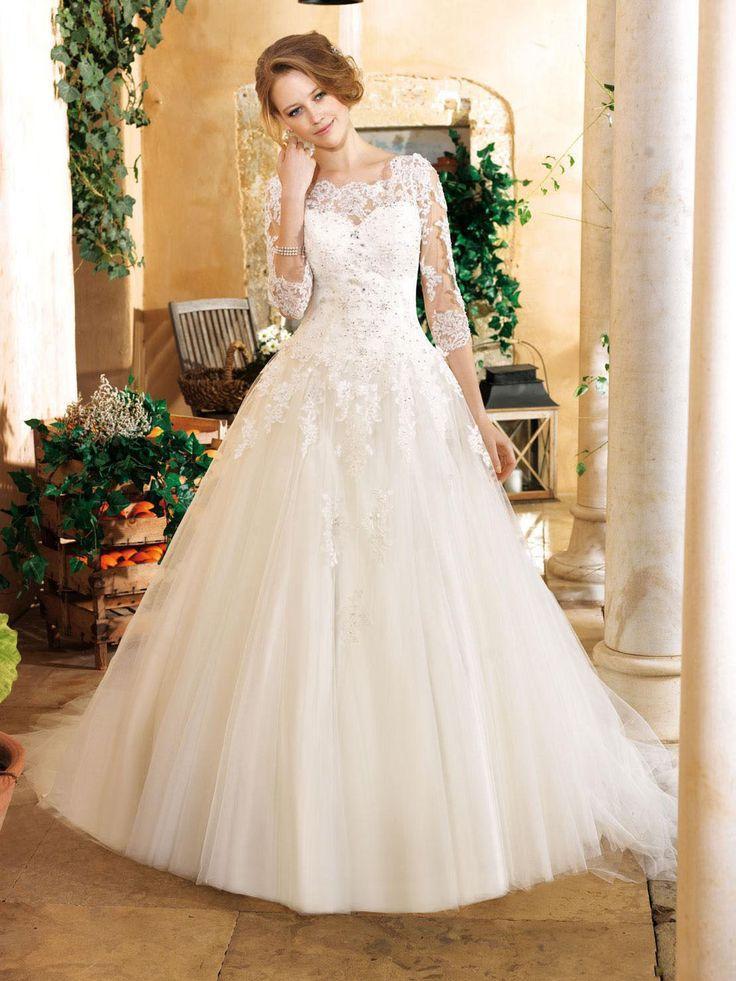 Wedding - 2014 New Weiß/Elfenbein Spitz Brautkleid Brauch Größe:32 34 36 38 40 42