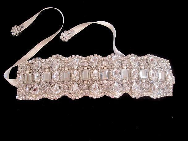Mariage - Wedding Crystal Bridal Bracelet Cuff Ribbon