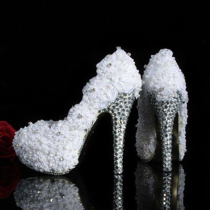 Elegant Lace Wedding Bridal Shoes Prom Party Heels Shoes With Crystal &  Pearls