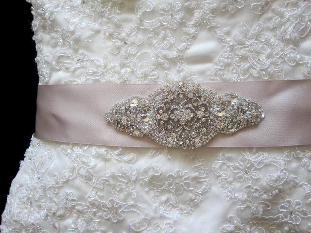 Wedding Bridal Dress Sash Crystal Brooch Belt Lique Embellishment