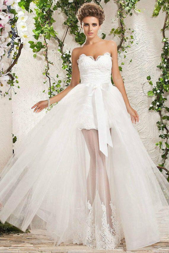 White ivory detachable train lace wedding dress custom for Short wedding dress with removable train