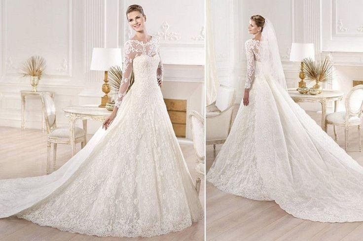 Ball Gown Wedding Dress Size 16 : Wedding ball gown satin lace bridal dress custom size