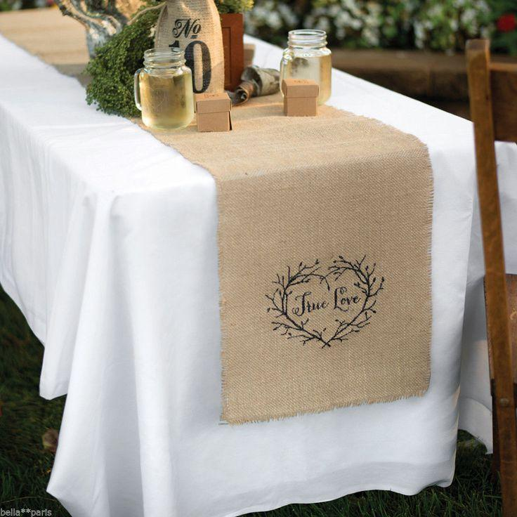 True Love Rustic Vine Heart Burlap Wedding Table Runner Decor